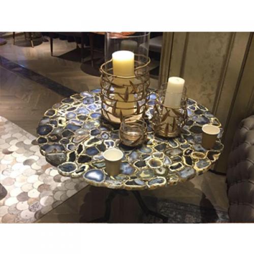 Black Agate Corner Table Top